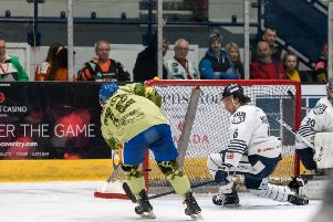 Glenn Billing scores a shorthanded goal to put Phantoms 6-4 ahead against Sheffield. Photo: �2018 Tom Scott. All rights reserved.