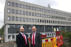 Peter Lamb, Labour leader of Crawley Borough Council and John Healey, Labour's shadow housing secretary, outside a permitted development with more  than 200 flats in Russell Way, Crawley