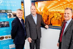 Noel Lavery, permanent secretary at the Department for the Economy with Seagate CEO Dave Mosley and Jeremy Fitch, Executive Director at Invest NI