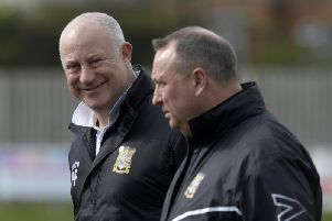 Three Bridges manager Paul Faili with assistant manager Keith George.'Picture by Jon Rigby
