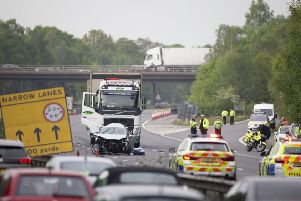 Emergency services at the scene of the collision