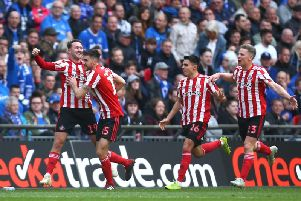 Aiden McGeady celebrates after scoring his sides first goal with team mates during the Checkatrade Trophy Final between Portsmouth and Sunderland at Wembley Stadium on March 31, 2019 in London, England. (Photo by Jordan Mansfield/Getty Images)