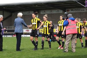 Crawley Wasps being presented with their National League Cup final medals after losing 3-0 to Blackburn Rovers at Burton Albions Pirelli Stadium. 'Picture by Alan Sillwood-Brown