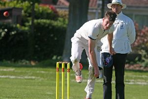 Adam Pye bowling for Hastings Priory against Goring By Sea. Pictures courtesy Derek Martin Photography