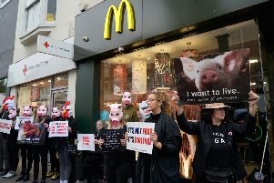 Protesters at Brighton London Road McDonald's