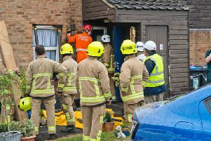 Fire crews responding to the incident in Burgess Hill
