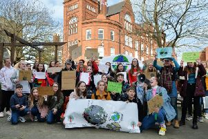 Climate change protesters from Welland Park College outside the council offices in March. Photo by Andrew Carpenter