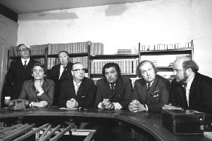 A Social Democratic and Labour Party press conference at the Tribine offices in Smithfield. (l-r) Austin Currie MP, Gerry Fitt MP, John Hume MP, Ivan Cooper MP and Paddy O'Hanlon. Behind them is Edward McGrady (left) and Paddy Devlin MP.