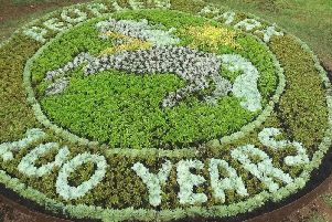 A special flower arrangement in People's Park to mark the centenary. Photo: Banbury Town Council