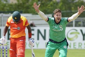 Big appeal by Ireland's Mark Adair against Zimbabwe. Pic by Rowland White.
