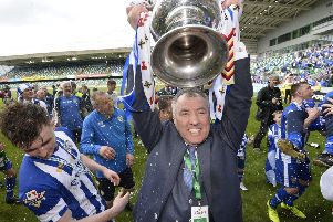Coleraine chairman Colin McKendry with the Irish Cup in 2018. Pic by PressEye Ltd.