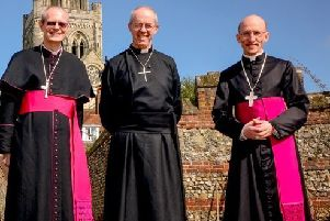 Bishop Mark Sowerby, left,  with the Archbishop of Canterbury Justin Welby and Bishop of Chichester Dr Martin Warner SUS-191107-125946001