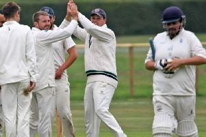 Chichester Priory Park celebrate a breakthrough against Billingshurst at Goodwood / Picture by Derek Martin