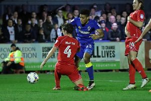 Joe Walsh in action against AFC Wimbledon in 2017