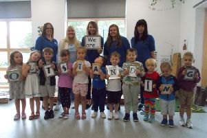 Staff and children celebrated the nursery's top rating