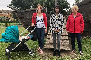 Councillors Hannah ONeill, Shammi Akter and Carole Baume by the pirate ship park play area and sensory garden on Fishermead.