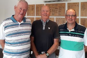 From left, Little Hay Golf Club's August Stableford winner Martin Evans, runner-up Paul Whiter and third-placed finisher Phil Jefferson.