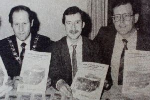 At the launch of the commemorative booklet for the 75th anniversary of the Larne gunrunning are - Ronnie Hanna (Ulster Society), Larne Mayor Winston Fulton,  author David Hume and David Trimble (Ulster Society). 1989
