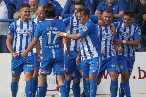Coleraine celebrate going 2-1 up against Crusaders