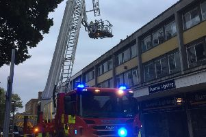 The rooftop rescue. Photo by Crawley Fire Station