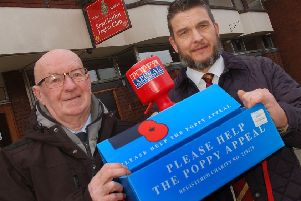 David Bloom (right) pictured in January this year as he took over as Melton Poppy Appeal organiser from Jock Bryson (left) EMN-190910-130504001