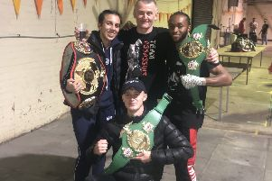 Commonwealth champions Thai Barlow (kneeling) and Tyree Stevens with world champion Iman Barlow and Assassins chief instructor Mark Barlow EMN-191016-081133002