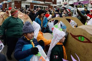 Archive photo of last year's Buckingham Christmas parade - featured is the Scouts float