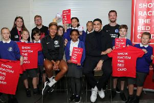 Brighton & Hove Albion stars Leon Balogun and Victoria Williams meet the pupils BHAFC/Paul Hazlewood