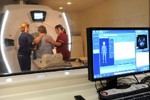 An MRI scanner in use