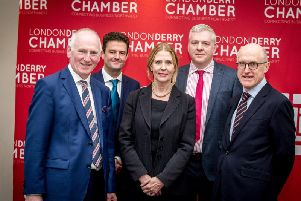From left to right are: Brian McGrath, Derry Chamber, Richard Rodgers, Department for the Economy, Jo Aston, SONI, Cecil McBurney, RiverRidge, and Jamie Delargy