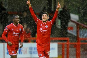 Ashley Nadesan celebrates his goal