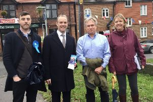Dominic Raab visits Crawley, with Conservative candidate Henry Smith and Tory campaigners
