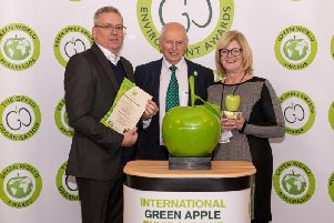 Collecting the award are Queensgate director Mark Broadhead, left, and Carol Wakelin, Environmental Manager.