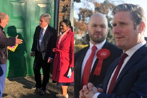 Left: Henry Smith and Home Secretary Priti Patel speaking to a member of the public; right Peter Lamb and Shadow Brexit Secretary Keir Starmer