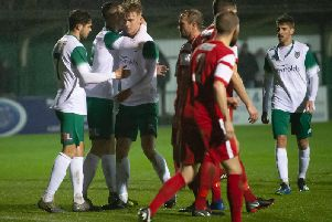 Bognor players celebrate one of the goals that saw off Horsham YMCA in the Sussex Senior Cup / Picture: Tommy McMillan