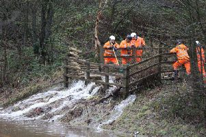 Water pouring onto the M23