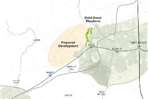 Map of the proposed development site west of Ifield
