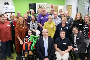John Billings (front centre) with local charities, sponsors and members of staff celebrating the success of the 10th anniversary year of the Carpenter Box Charitable Foundation.