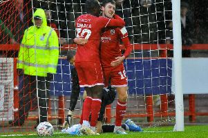 Ashley Nadesan celebrates putting Crawley ahead in November's win over Scunthorpe. Picture by Steve Robards