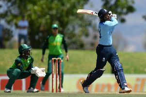 Chris Jordan strikes out during England's warm-up one-dayer in South Africa / Picture: Getty