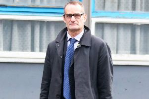 Former Sussex Police detective Dominic O'Brien outside Crawley Magistrates' Court