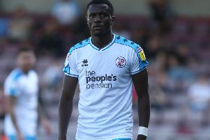 Bez Lubala was on the scoresheet when Crawley beat Salford 2-0 at home in August. Picture courtesy of Getty Images