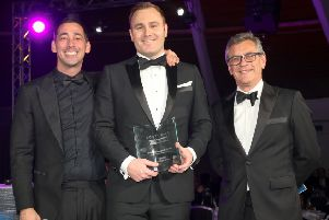 Left to right: Broadcaster Colin Murray, Daniel Tozer, and Iain Jamieson, Chief Financial Officer, Fairstone Group, who presented the award to Daniel SUS-201002-154728001