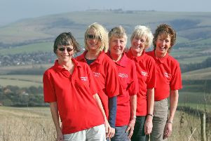 South Downs Way walk. Sally Dench, Jo Hughes, Brenda Goodman, Julia Simpson, Jenny Clark. Photo by Steve Cobb