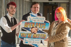 Media student Josh Kuzma and Hairdressing student Molly Hazlett look ahead to NWRC's Open Days with Leo Murphy, Principal and and Chief Executive of North West Regional College.