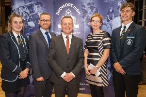 David Scott, Grand Lodge services & outreach manager (centre) pictured with Ian McConaghy, principal of Dromore High School; Wendy Kirkland, head of careers; along with head girl, Eve Hughes, and head boy, Rhys Dale