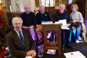 From left to right: David Laing, the Lord Lieutenant of Northamptonshire, Chris Coles of the BB Society, Tim Coghlan of Braunston Marina, Timothy West and Prunella Scales