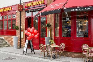 An exterior view of Cafe Rouge at Gunwharf Quays, in Portsmouth