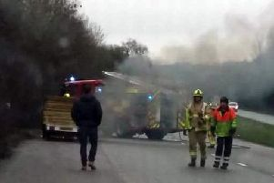 The A264 car fire. Picture by driving instructor David Barnard