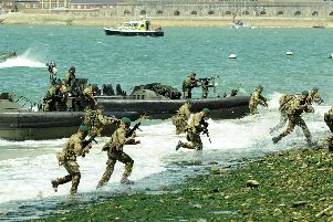 D-Day 70 Drumhead service on Southsea Common. Pictured is  the Royal Marines landing display''Picture: Paul Jacobs (141677-48)